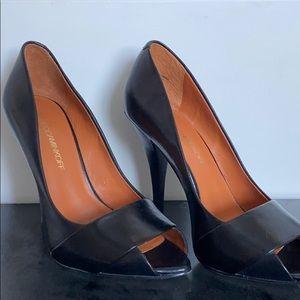 Rebecca Minkoff black leather peep toe wooden heel